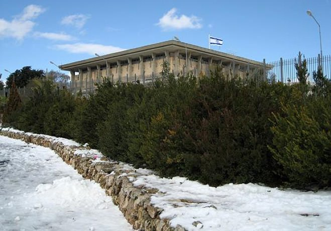The Knesset Covered in White
