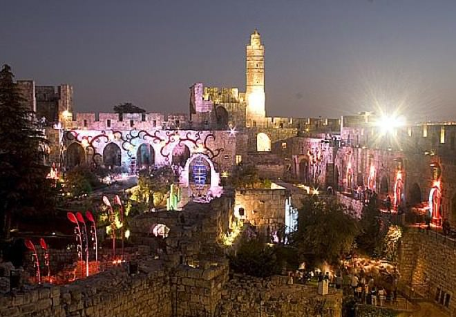 The Tower of David Lit at Nightfall