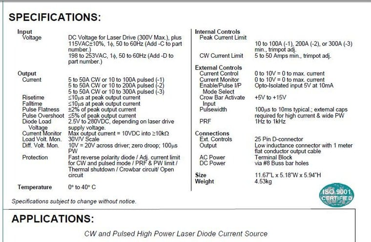 High Power Laser Diode Driver  7701A