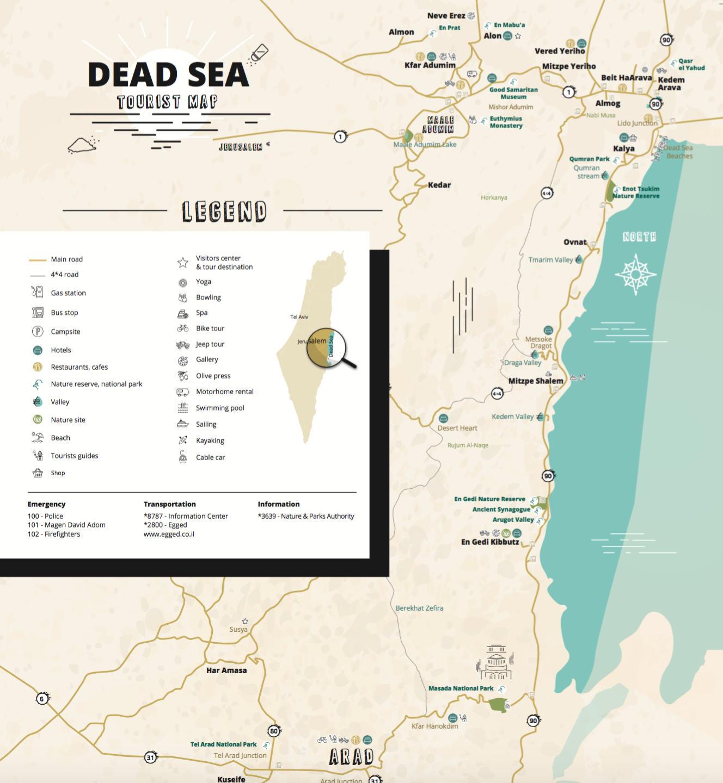 Dead Sea Map - GoDeadSea.com Dead Sea Map on