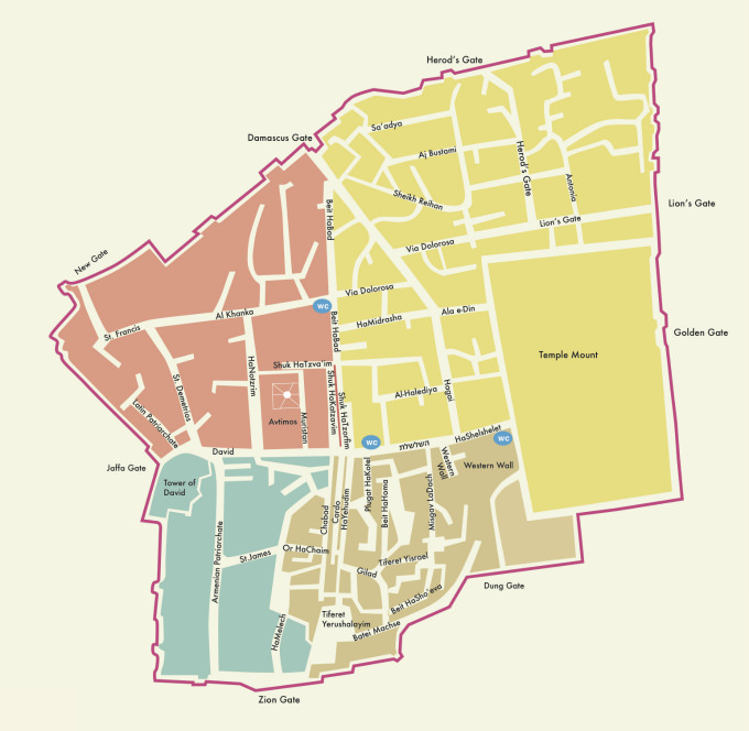 Jerusalem Old City Map | the best map of the Old City for free