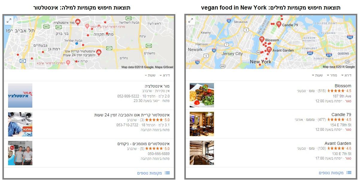 דוגמאות לתוצאות חיפוש מקומיות בגוגל